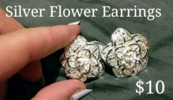 Silver Flower Earrings $10