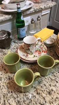 white and green floral ceramic tea set McKinney, 75070