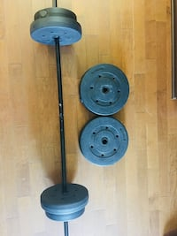 6 black weight plates and rod weight lifting Saint-Eustache, J7P 4C3