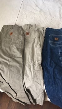 two blue and white denim jeans