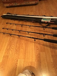 Penn senator 14h reels like new 6 foot rods like new 16 foot out riggers fully rigged out with release on both poles Monrovia, 21770