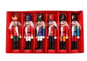 6Pcs Wooden Nutcracker Miniature Soldier Handcrafted Ornaments