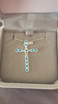 NEW!!! 925 Stamped SS London Blue Topaz Pendant & chain Cleveland, 44111