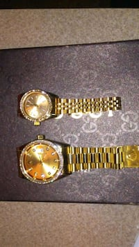 round gold-colored analog watch with link bracelet Arlington, 76014