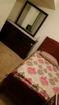 Twin bed frame. & Dresser with mirror