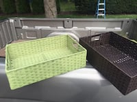 green and black wicker baskets