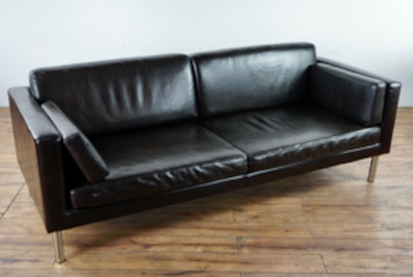 Ikea Mid Century Modern Style Faux Leather Upholstered Sofa (1015723)