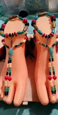 Beads and feather barefoot sandals West Vancouver, V7P 3R1