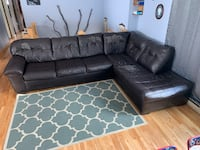 black leather tufted sectional sofa Barre, 05641