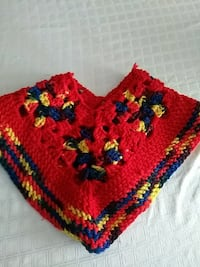 red and yellow knit poncho Markham, L3S 4G4