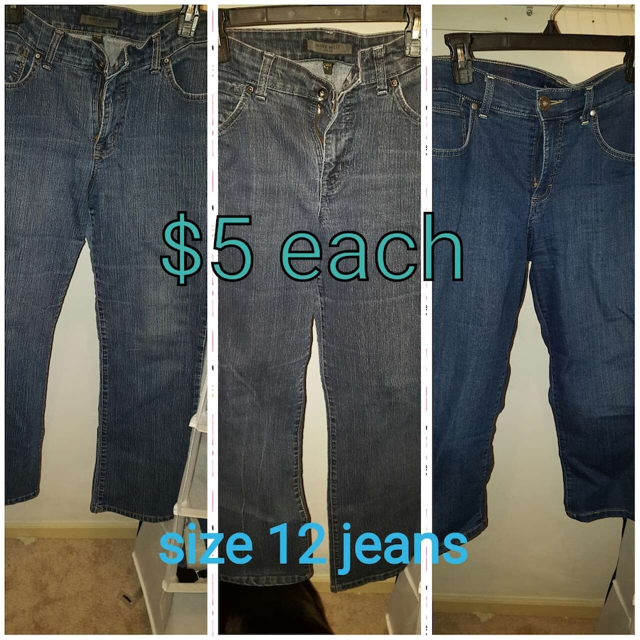 size 12 three pair of jeans. $10 for all
