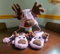 Moose Winter Hat with Matching Mittens  London, N6E 2L2