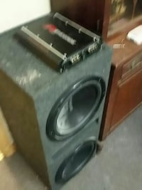black and gray subwoofer