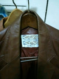 brown leather zip-up jacket null