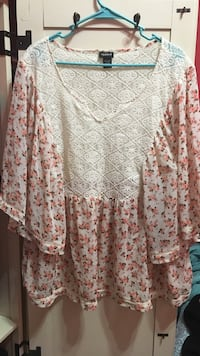 women's white and red floral blouse Brentwood, 11717