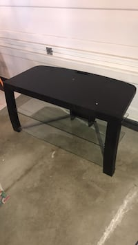 Black wooden base 3-layer with glass tv table REDUCED Edmonton, T6X 0J1