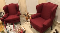 red fabric sofa chair with ottoman Rockville, 20850