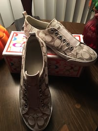 pair of brown Coach low-top sneakers with box Huntingdon Valley, 19006