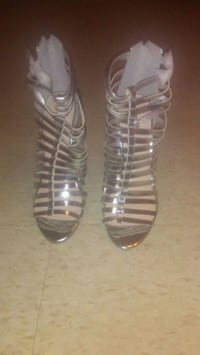 pair of silver gladiator sandals Erie, 16511