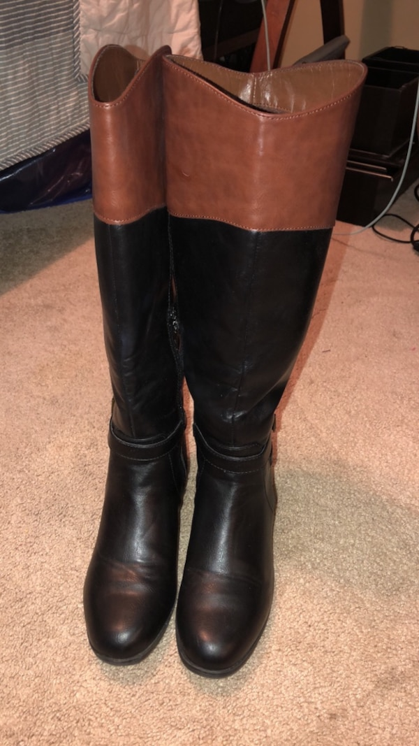 Women 2-tone wide calf boots size 8.5 0