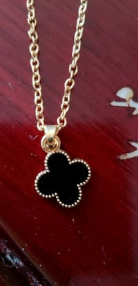 Gold plated with black stone necklace Mississauga, L5M 0N7