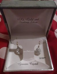 pair of silver-colored earrings with box