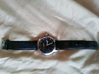 round silver-colored analog watch with black leather strap Redding, 96003