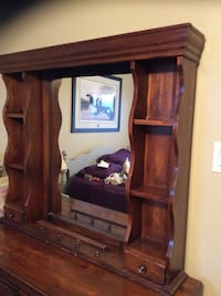 Solid Pine Mirror for top of dresser.  Med Brown Stain colour   Georgetown, L7G 1X6