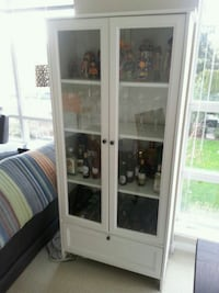Wall Glass Door Cabinet included 7 Wine Glasses