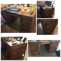 Partner's DESK...antique....ornate doors Late 1800's to early 1900's EUC Calgary, T2L 0T3