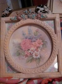 pink petaled flower, daisy flowers, and blue petaled flower painting with brown wooden frame Springfield, 97478
