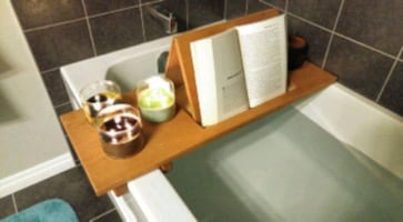 Cherry wood bathtub caddy
