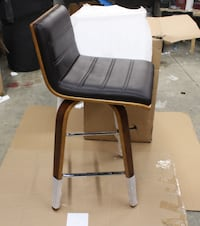 Armen Living Vienna  Barstool in Faux Leather and Walnut Wood Finish Pickering