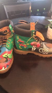 pair of multicolored leather work boots