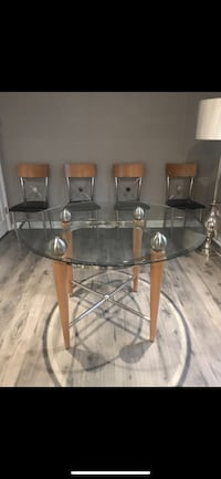 Dining table with 4 chairs glass top  Burke