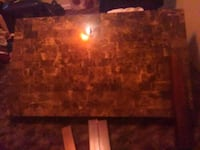 brown wooden framed brown marble top table