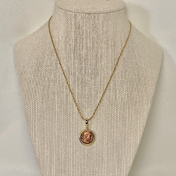 Genuine 14k Gold Roman Coin Pendant with 14k Rope Chain 4692c705-efba-445a-8e7a-e469c049aa67