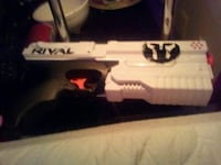white and black airsoft rifle
