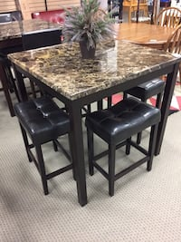 rectangular brown marble top table with four chairs dining set Houston, 77077
