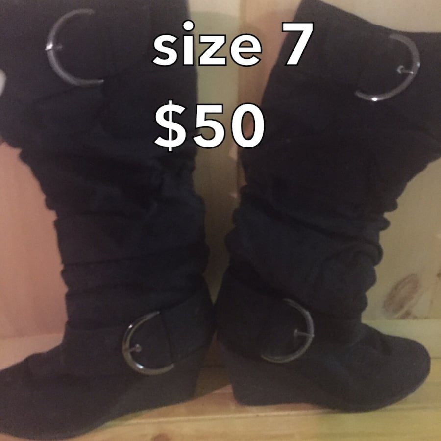 Black suede knee high boots $30