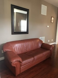Italian Red Leather 3 seater sofa and armchair