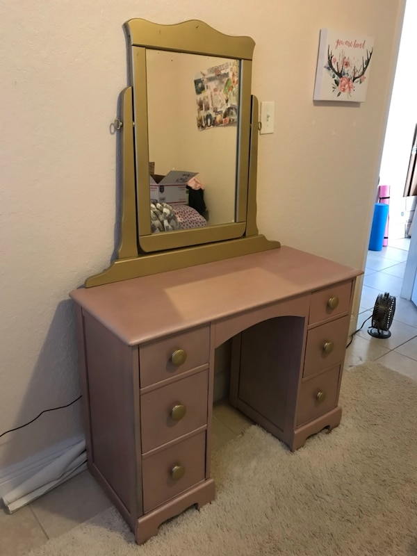 Retro **real wood** makeup vanity