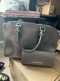 Women's gray leather michael kors tote bag and wallet limited edition color gum metal grey  Camillus, 13031