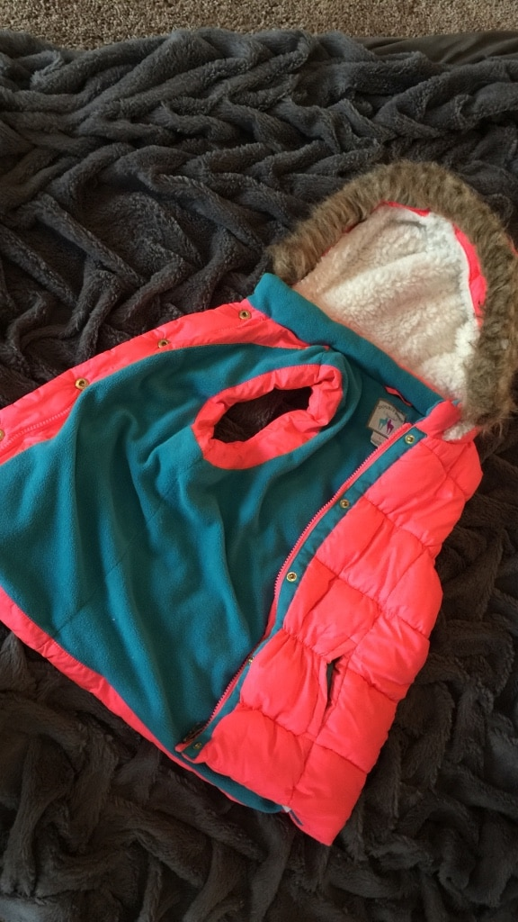 pink and green bubble jacket