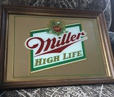 Vintage Wood framed miller high life beer mirror