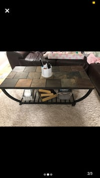 Metal coffee table with tile top