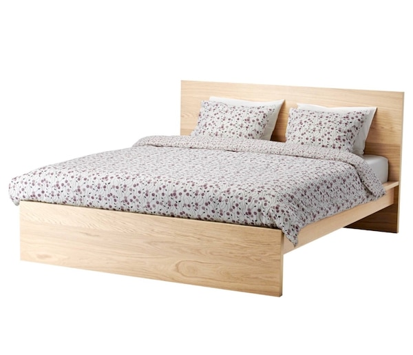 Twin Ikea Malm Oak Bed Frame and Bed