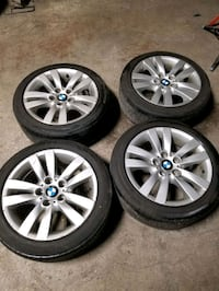 chrome BMW 5-spoke car wheel with tire set Burlington, L7T 3Z5