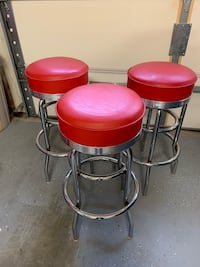 two red leather padded bar stools Denver, 28037