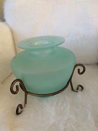 teal glass jar with stand